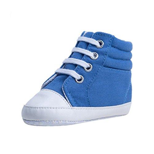FNKDOR Babystiefel High Top Schuhe Weiche Sohle 0-1 Jahre Neugeborene Canvas Lauflernschuhe(0-6 Monate,Blau) (Schuhe Säuglinge Top High)