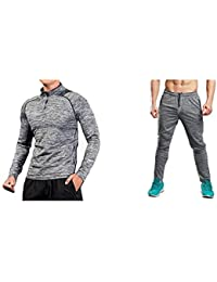 58f1acf9a916 Zesteez Grey Tracksuit Men Ultra Stretchable Gym-Workout Track Pants and  Full SLVS Tshirt in