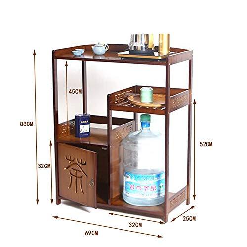 Shelves Duo Bücherregal Regal, Küchenregale Bambus Mobile Tee Tisch Tee Schrank Display-Ständer Hängeregal, (Farbe : B) -