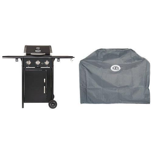 Outdoorchef CAIRNS 3G schwarz BBQ Gasgrill Grillstation, 3Brenner, 18.131.21 + Abdeckhaube