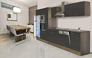 respekta einbau k che k chenblock 370 cm eiche york nachbildung grau backofen ceran mikrowelle. Black Bedroom Furniture Sets. Home Design Ideas