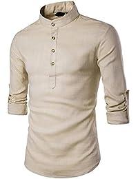 Tomatao Herren Tops Hemd Einfarbig Shirts Stehkragen Hemdbluse Slim Fit  Pulli Langarm Hemden Classics Langarmshirt Sweatshirt… fe2607e5e0