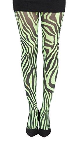 Nylon-Strumpfhose Zebra, Grün Schwarz (Grün Nylon-strumpfhosen)