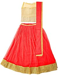 Whynot Girl's Net Lehenga Choli Unstitched (Red Color_ 11 To 14 year_Free Size)