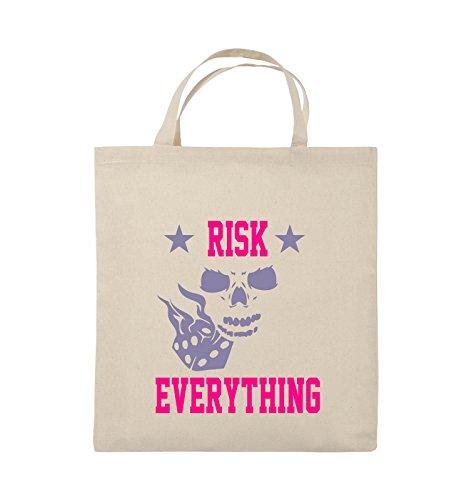 Comedy Bags - Risk everything - Jutebeutel - kurze Henkel - 38x42cm - Farbe: Schwarz / Weiss-Neongrün Natural / Pink-Violet