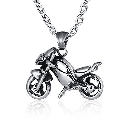 Bishilin Edelstahl Halsketten Herren Silber Motorrad Anhänger Kette Partnerketten Silber