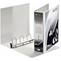 Leitz Classeur 4 Anneaux Personnalisable, pour Présentations, A4, Dos 8,6cm, Diamètre Anneaux 60mm, Couverture Plastique, Blanc, Mécanisme Softclick 42050001