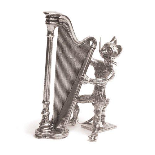 Chat Harpe Miniature - Etain 95,5% - Fabriqué en France - Objet déco - Cadeau musique
