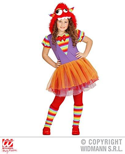 WIDMANN 02187 - Kinderkostüm Rainbow Monster Mädchen, Kleid, Ballettröckchen, Kopfbedeckung mit Gesicht, Beinstulpen, lila