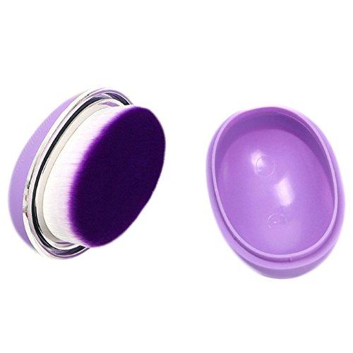 Gespout Pinceau de Maquillage Professionnel pour Visage Nylon Poignée en Plastique Fond de Teint Poudre Blush Facile à transporter(Violet)
