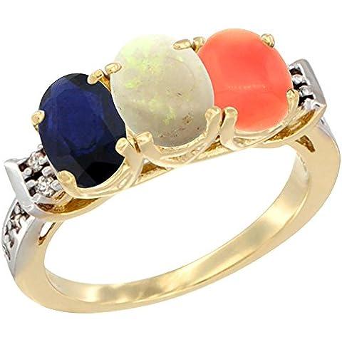 14kt oro giallo Anello Blu Zaffiro, Opale e corallo naturale 3-Stone ovale 7x 5mm Diamante Accent, misura