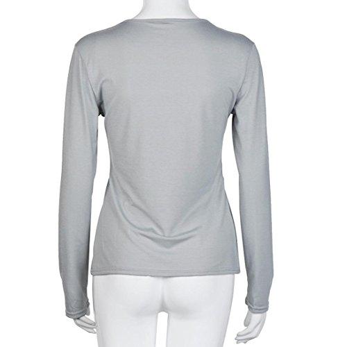 BZLine - Femme Bandage T-shirt V-Col en Coton Mélangé - Manche Longue - Couleur Pure Gris