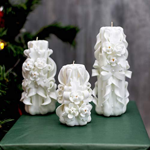 Einzigartige Dekor (Weiß geschnitzte Kerze für einzigartiges Geschenk und Hochzeit Dekor - ungewöhnliches Geschenk für Muttertag und Weihnachten)