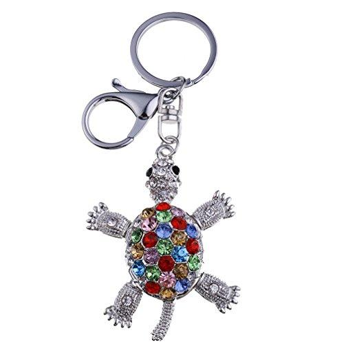 Yazilind Schlüsselanhänger hübsche Schildkröte eingelegten Strass Handtasche Auto Zubehör Anhänger Hängende Ornamente
