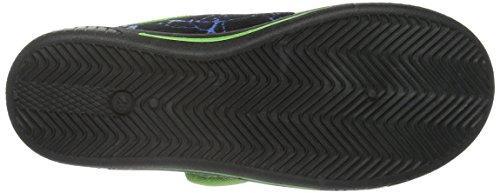 Turtles Jungen Boys Kids Velcro Low Houseshoes Flache Hausschuhe Schwarz (BLK/BLK/LGRN 130)