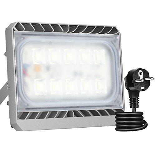 GOSUN® Super Hell 50W LED Fluter Außenstrahler 4500Lumen 230V IP65 CREE SMD5050 Kaltweiß, 36 Monate Garantie