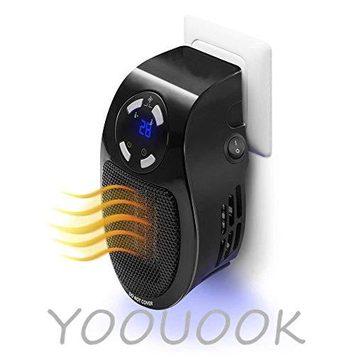 YOOUOOK Mini Heizlüfter,Elektrische Heizungen,Steckdosen Heizlüfter,Stecker Tragbare Wärme Ventilator für Haus Büro 500w