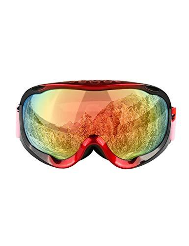 MOKAYA Skibrille Snowboard Brille Doppel-Objektiv UV-Schutz Anti-Fog Skibrille Für Damen Herren Jungen Mädchen (Frame:Schwarz-Rot,Lens:Rot)