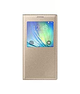 Flip Cover For Samsung Galaxy A8-Gold With Free Key Ring
