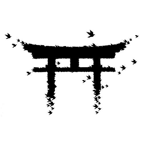 haotong11 18,3 cm * 11,6 cm Japan Gate Vögel Cartoon Aufkleber Decals Vinyl Schwarz/Silber 5 stücke