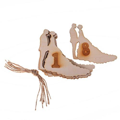 lz Tisch Nummer Hängen Dekor / mit Holz Base Hochzeit Tischnummern Set/10pcs - Braut und Bräutigam, 1-10 (Braut Und Bräutigam Tisch)