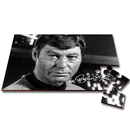 Deforest Kelley - Leonard Bones McCoy - Star Trek 1 Wooden 30 Piece Jigsaw Autograph Print with Presentation Gift Box