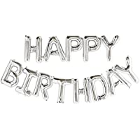 Other Self Inflating Happy Birthday Banner Balloon Bunting Silver 16 inch Letters Foil