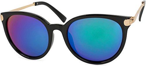 styleBREAKER Sonnenbrille mit Katzenaugen Cat Eye Gläsern und Metall Bügel, runde Glasform, Damen 09020073, Farbe:Gestell Schwarz-Gold/Glas Blau-Grün verspiegelt