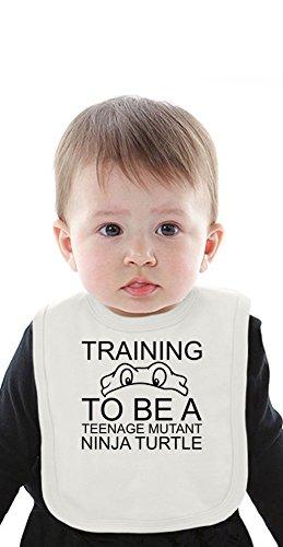 Training To Be A Teenage Mutant Ninja Turtle Slogan Organic Bib With Ties ()