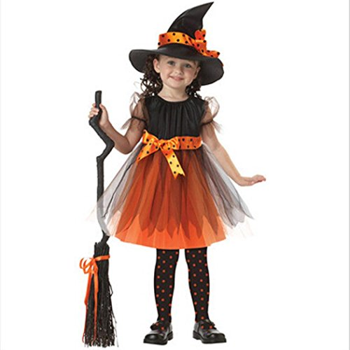 Halloween Kostüm,bobo4818 Girls Witch Dress Mit Besen Und Hut FüR Die Halloween KostüM Partei, Orange Schwarz (Height:115-125CM) (Halloween-hexe-hüte)