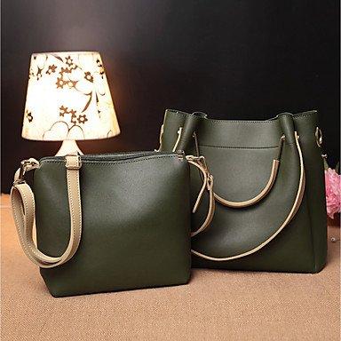 Borsa donna in PVC set di tutte le stagioni Casual Baguette Zipper vino verde scuro nero,verde scuro Dark Green