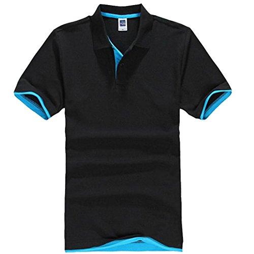 Vertvie Herren Poloshirt Basic kurzarm Funktionspolo Hemd in verschiedene Farben Schwarz&Himmelblau