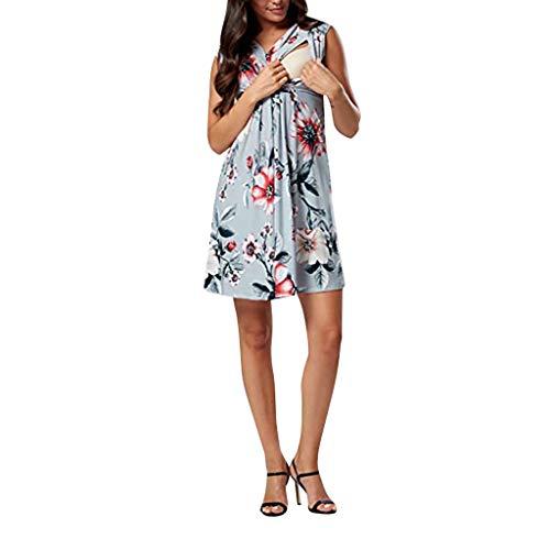 Schwangere Kleider Damen, Damen Umstandskleider Damen Pflege Breedfeedibg Kleid Sommer Casual Floral Sexy ärmelloses Minikleid Umstandskleid