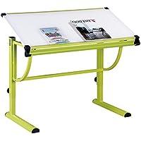 Preisvergleich für IDIMEX Kinderschreibtisch Schülerschreibtisch Conny höhenverstellbar und neigungsverstellbar, Metallgestell grün lackiert, Tischplatte in weiß
