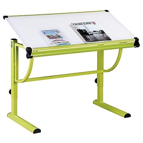Kinderschreibtisch Schülerschreibtisch CONNY höhenverstellbar und neigungsverstellbar, Metallgestell grün lackiert, Tischplatte in
