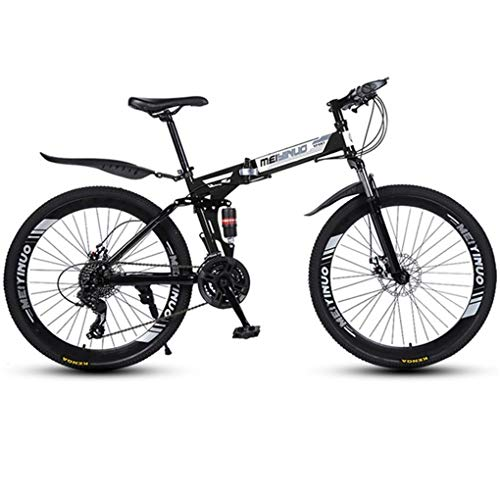 JLASD Bicicleta Montaña Bicicleta De Montaña, Bicicletas De Suspensión Completa Plegable De MTB...