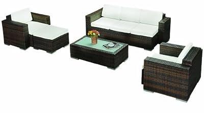 AJ's Garden MIAMI XL / Farben schwarz Poly-Rattan Gartenmöbel Garnitur Sofa Sitzgruppe Exklusive Rattan Lounge