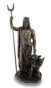 Finition bronze Dieu grec Hadès et Cerberus Statue Sculpture