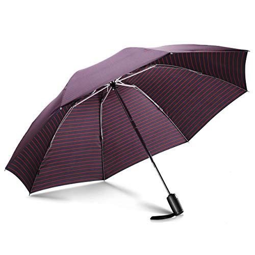 Leebotree ombrello pieghevoli antivento, compatto antivento ombrello inverso per esterno da viaggio, automatico apri e chiudi per permetterne l'uso con una sola mano,canopy 210t fabric(striscia)