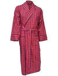 Lloyd Attree & Smith - robe de chambre légère 100% coton brossé - carreaux rouge / bleu - homme