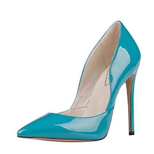 EKS Damen Spitze High Heels Kleid-Partei Pumps Blau-Lackleder