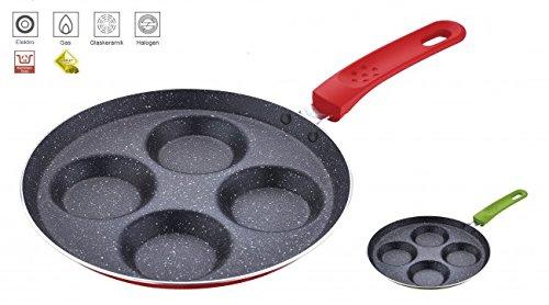 Spiegeleipfanne - marmor Beschichtung - Pfannkuchen Crepes Pancake Pfanne - Pfannkuchenpfanne - Bratpfanne - Eierpfanne - Marmorpfanne, Farbe:Rot