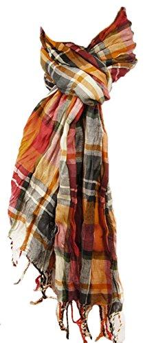 Herren Crinkle Schal orange rot grün grau beige 100% Baumwolle