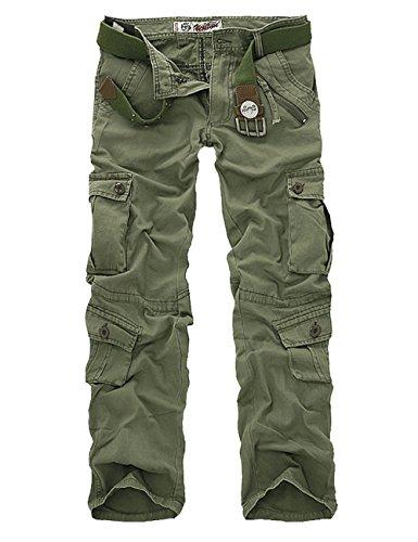 Menschwear Herren Cargo Hosen Freizeit Multi-Taschen Military pantaloni Ripstop Cargo da uomo (32,Grün) (Jean Herren Polo Assn Us Slim)