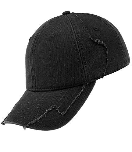 Atlantis Herrenbasecap Basecap Baseballcap Schirmmütze Truckercap Vintage Destroyed Distressed einfarbig für Männer (AL-600-S17-HE2-BLA-OS) in Black, Größe OS inkl....