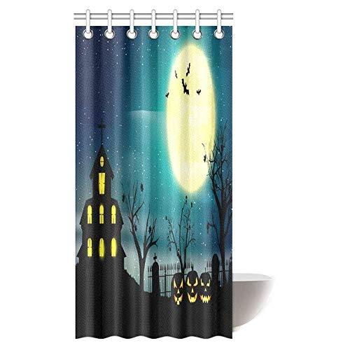 Abbylexi, tenda da doccia per bambini, decorazione artistica per halloween, notte e zucche, in tessuto impermeabile, con ganci, 182,9 x 182,9 cm