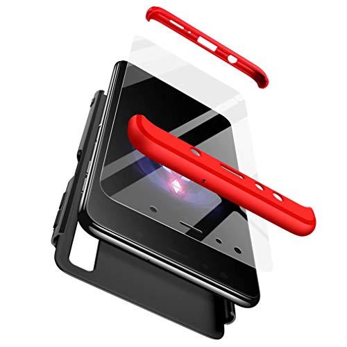 Qsdd Sostituzione per Samsung Galaxy A7 2018 360°Protezione 3 in 1 Custodia +1* Protezione per Schermo in Vetro Temperato TPU Paraurti Rigida per PC Antiurto Antigraffio Siliconea Case-Rosso e Nero