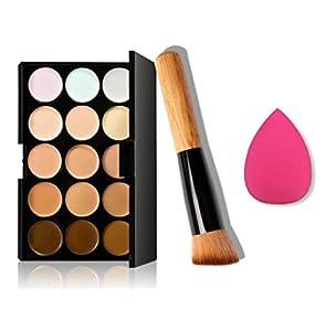 Yistu Professional 15 Colors Makeup Concealer Contour Palette + Water Sponge Puff + Makeup Brush Kit