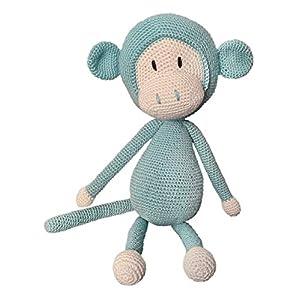 LOOP BABY gehäkelter Affe Arne aus Bio-Baumwolle handgemacht – gehäkeltes Kuscheltier – blau/grauer Häkelaffe – auf Wunsch mit Name