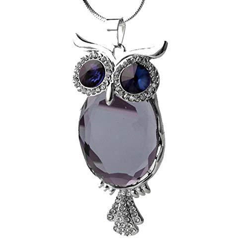 KFYU Lange Halskette Kostüm Kristall Pullover Kette Eule Halskette Silber Abschnitt - grau